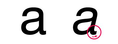 イタリックの「a」は少しだけ手書きっぽい