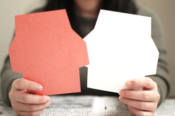 型紙を使って封筒が切り出せました