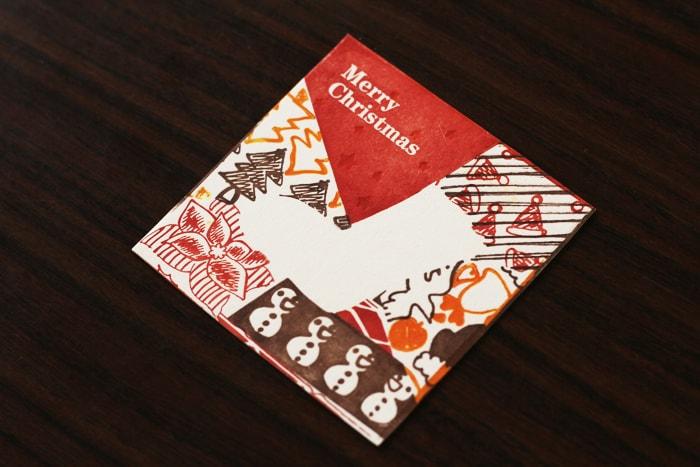 コースターとしても使えるクリスマスカード