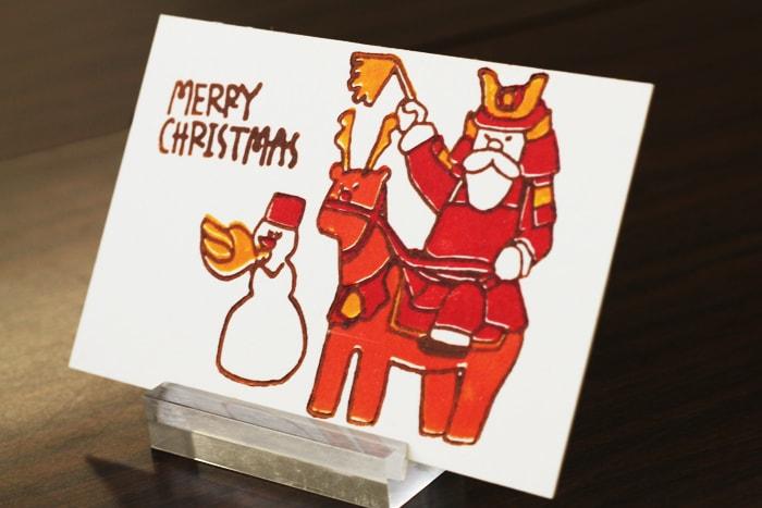 サンタクロース+武将のクリスマスカード