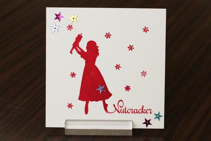 くるみ割り人形のクララをモチーフとしたクリスマスカード