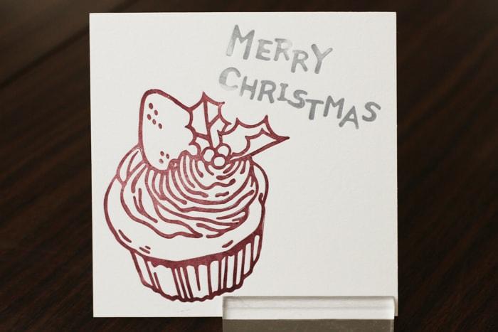 カップケーキをモチーフとしたクリスマスカード