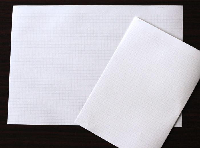 本文用紙に方眼紙を使ってノートを作ります