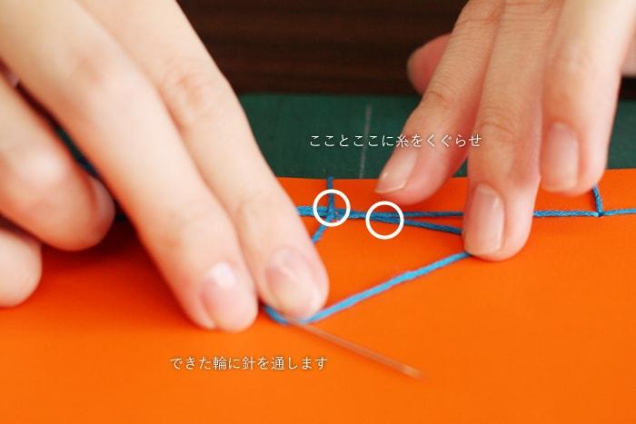 できた輪の中に針を通し、糸をしっかりと結ぶ