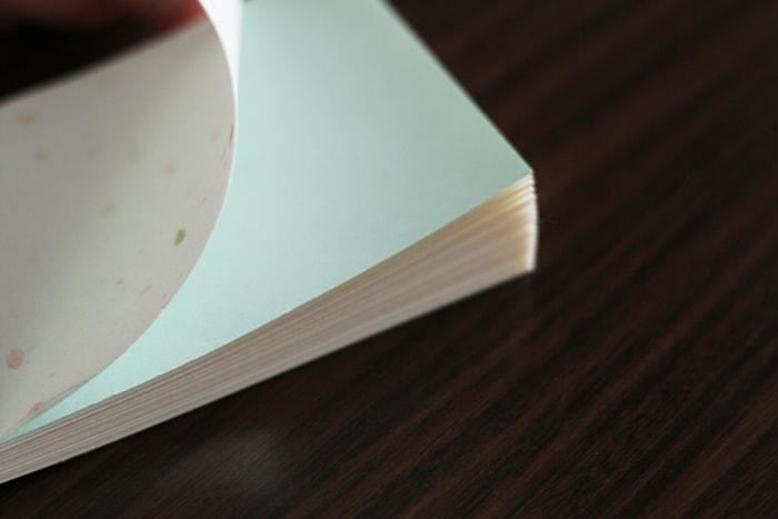 中表紙に淡い色合いの紙をセレクト