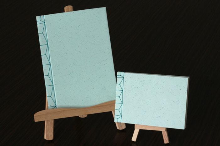 大きさの異なる麻の葉綴じハードカバーノート