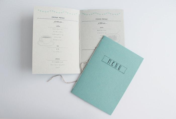 ファストヴィンテージで作られた、糸中綴製本のメニュー