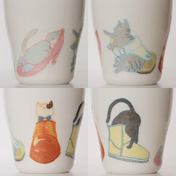 四季をモチーフとしたネコと靴のデザインのデコパージュ作品