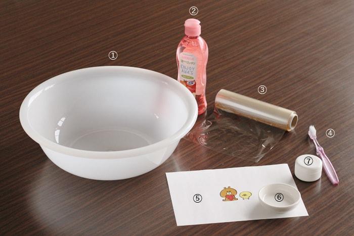 ① 洗面器など水を入れる容器 ② 食器用洗剤 ③ ラップ ④ 歯ブラシ ⑤ プリントアウトしたイラスト ⑥ デコパージュしたいもの ⑦ デコパージュ専用のり
