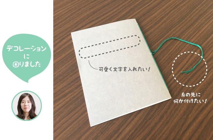 糸中綴じのノートにかわいく文字を入れたいとの、糸の先に何か付けたい