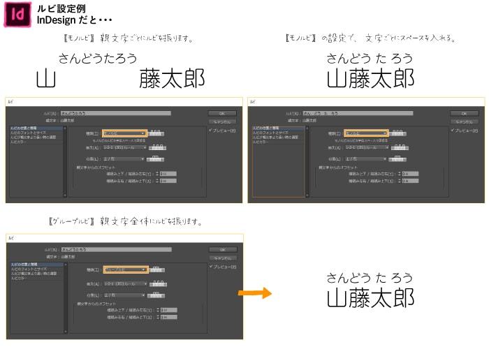 【InDesign】ルビ設定例