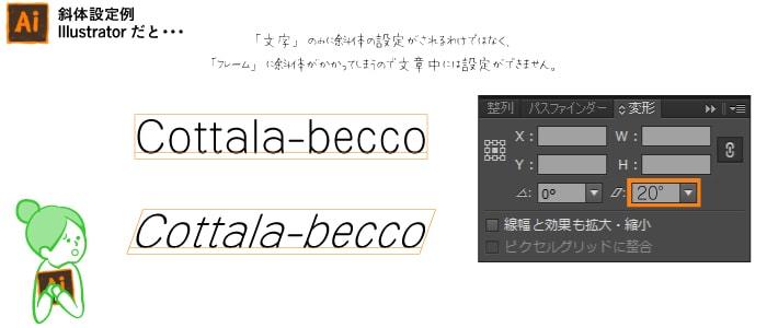 【Illustrator】斜体設定例